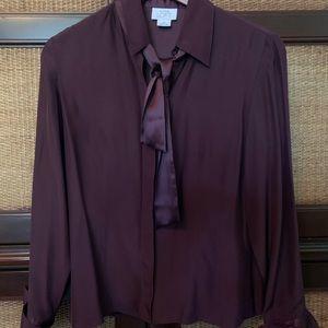 Ann Taylor Loft 100% silk purple blouse